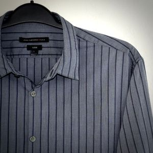 John Varvatos Luxe Blue Gray Striped Shirt L